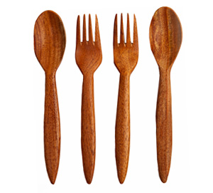 Neem Wood Cutlery Set - Adult